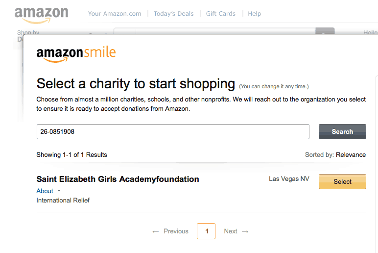 H4H Amazon Smile Step 2