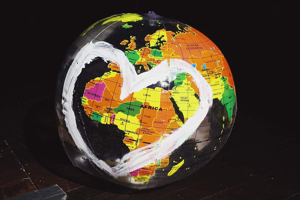 Globe with heart drawn around africa